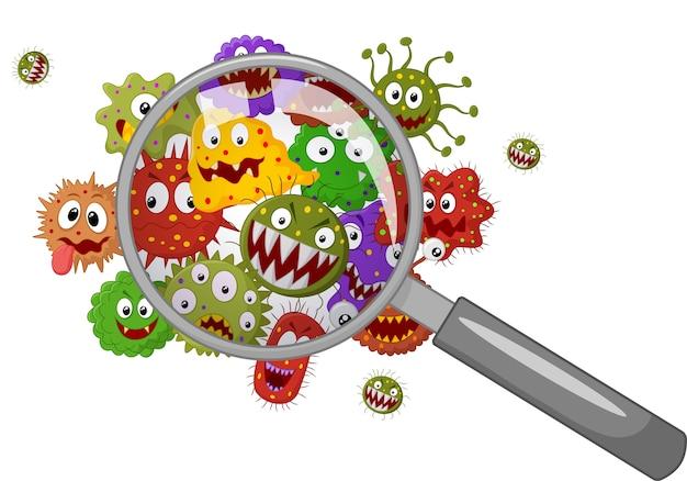 Cartoon bacteriën onder een vergrootglas