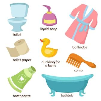 Cartoon badkamer vector-apparatuur. toilet, wastafel en ligbad