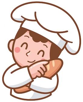 Cartoon baker die voedsel voorstelt