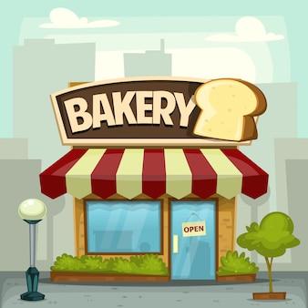 Cartoon bakkerij brood winkel stad gebouw illustratie