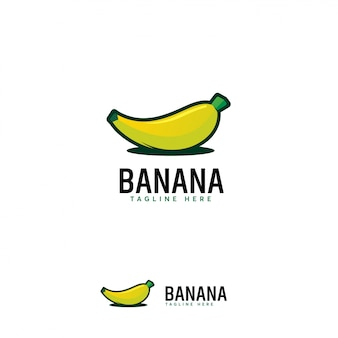 Cartoon banana fruit logo, banaan fruit logo symboolpictogram
