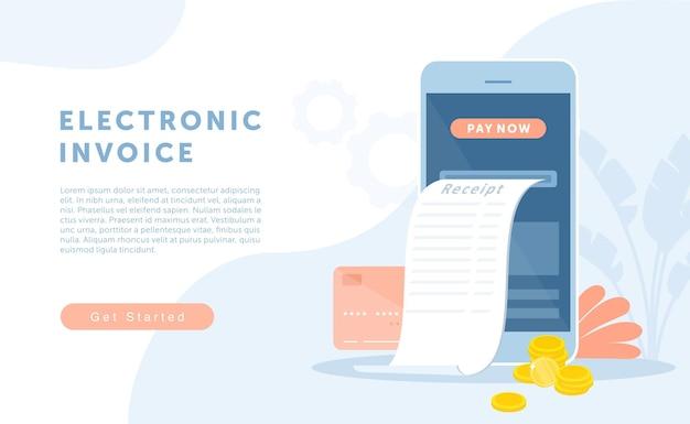 Cartoon bank moderne digitale technologie voor het ontvangen van elektronische cheque ontvangst met behulp van mobiele app