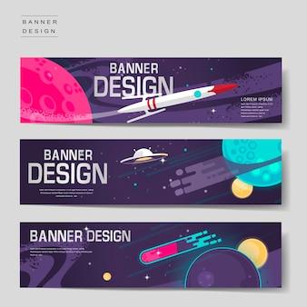 Cartoon banner sjabloon ontwerpset met landschap in de ruimte
