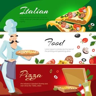 Cartoon banners met ingrediënten van pizza