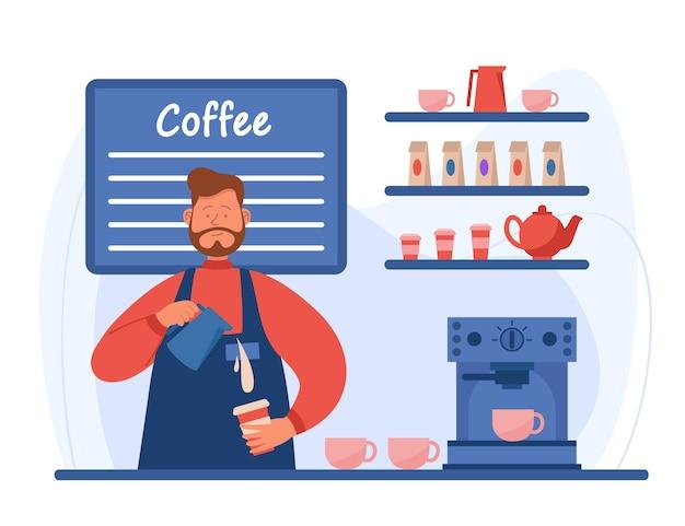 Cartoon barista die espresso van hoge kwaliteit maakt bij koffiestation