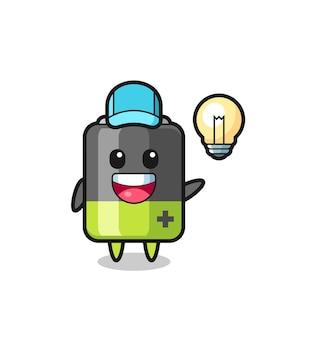 Cartoon batterijkarakter krijgt het idee, schattig stijlontwerp voor t-shirt, sticker, logo-element