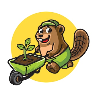 Cartoon beaver gardener mascotte
