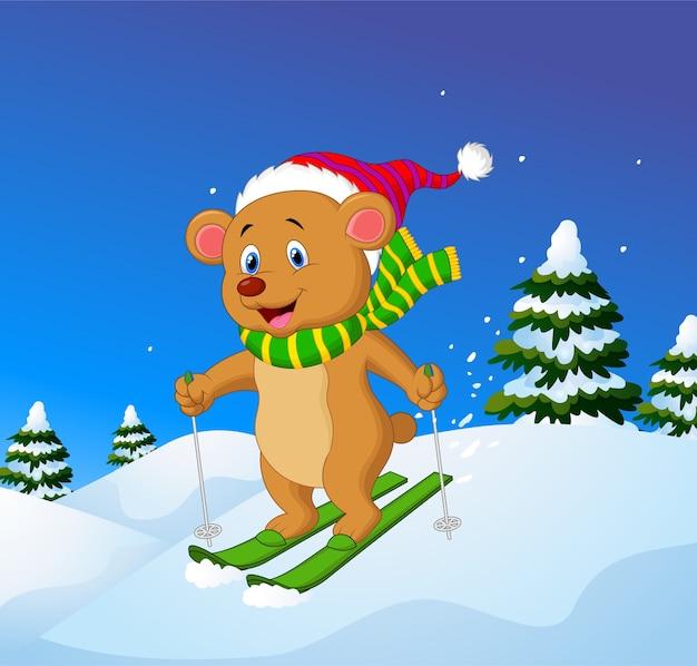 Cartoon beer op een berghelling