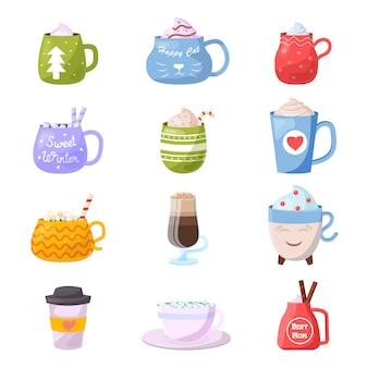 Cartoon beker kinderen mokken warme koffie of thee beker bij het ontbijt en verschillende vormen van koffiekopje illustratie set van kerst mokvolle ochtenddrank in kat theekopje geïsoleerd op witte achtergrond