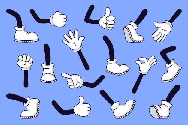 Cartoon benen en handen. komische karakter gehandschoende arm en voeten in laarzen, retro doodle armen met verschillende gebaren, rennen en lopen benen illustratie set. duim omhoog, oké teken