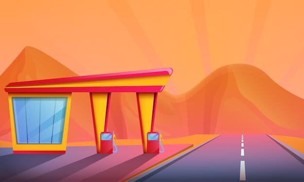 Cartoon benzinestation op een zonsondergang over de bergen, vectorillustratie