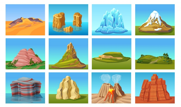 Cartoon berglandschappen set