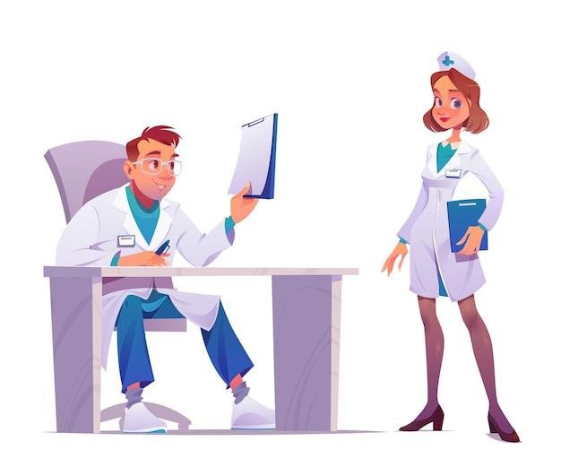Cartoon beroepsbeoefenaren in de gezondheidszorg met jassen