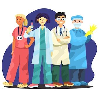 Cartoon beroepsbeoefenaren in de gezondheidszorg