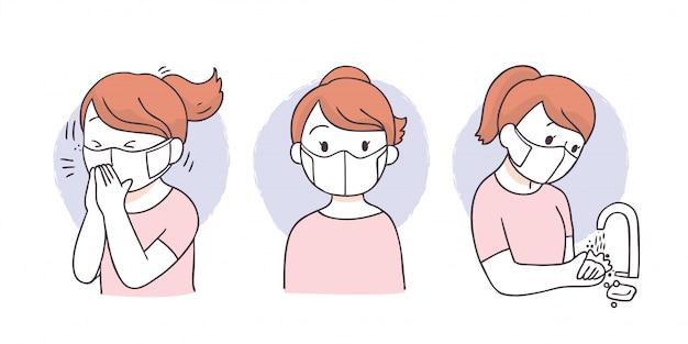 Cartoon beschermen virus, vrouw met gezichtsmasker, hoest en handen wassen.