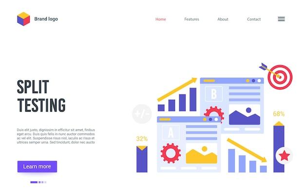 Cartoon bestemmingspagina website-ontwerp voor online service van bedrijfsoptimalisatie van de conversieratio