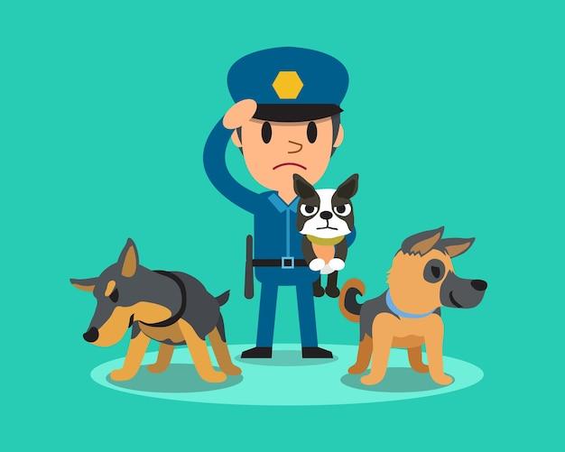 Cartoon bewaker politieagent met politie waakhonden