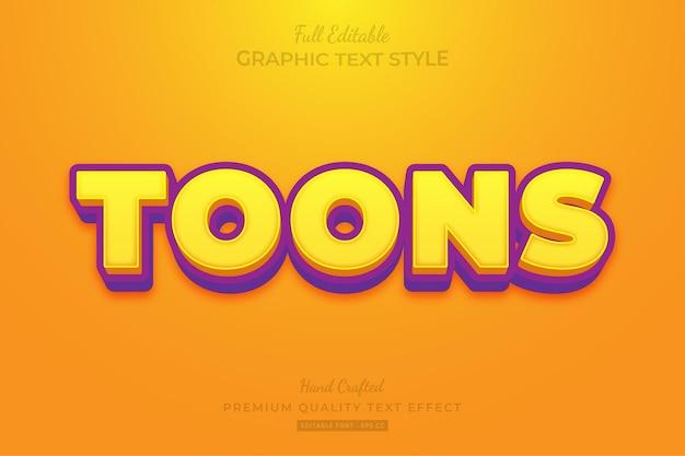 Cartoon bewerkbare teksteffect lettertypestijl