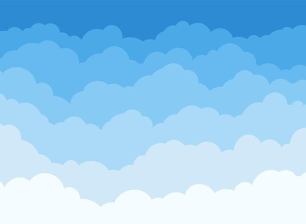 Cartoon bewolkt patroon, platte luchtscène panorama voor banner, komische poster
