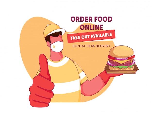 Cartoon bezorger draagt een gezichtsmasker met presentatie van hamburger en gegeven bericht als eten online bestellen, afhalen beschikbaar, contactloze levering.