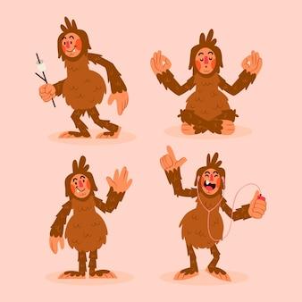 Cartoon bigfoot sasquatch-tekenverzameling