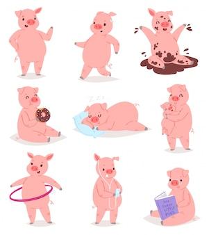 Cartoon biggen varken of piggy karakter en roze piggy-wiggy spelen in plas illustratie piggish set varkenshaar moeder knuffelen biggen baby op witte achtergrond