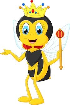 Cartoon bijenkoningin presenteren