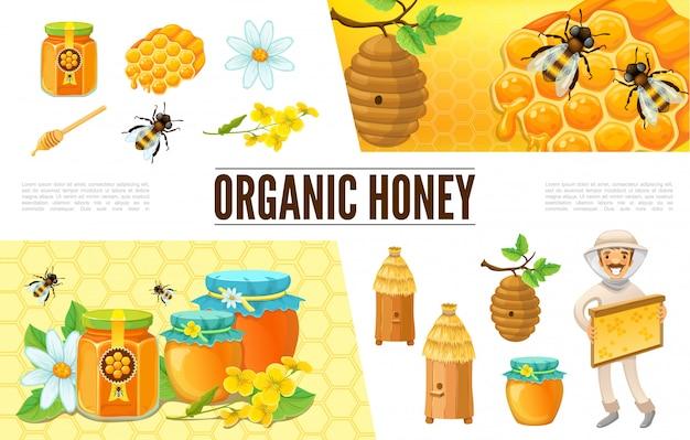 Cartoon bijenteelt samenstelling met imker bijenkorf bijen kamille bloem honingraten plakken potten en banken van honing
