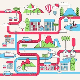 Cartoon binnenstad illustratie in platte lijnstijl
