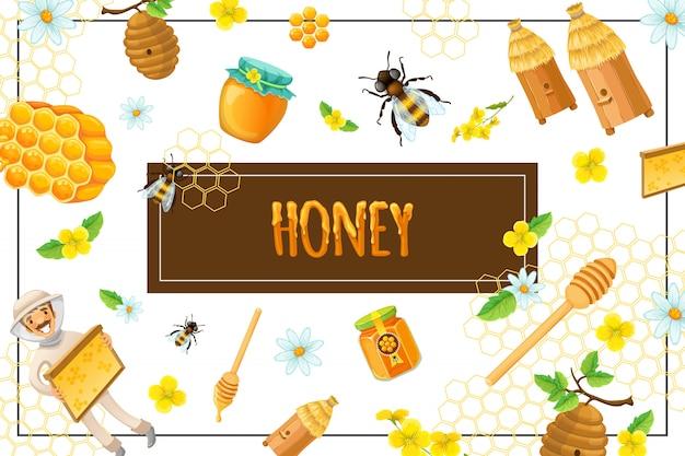 Cartoon biologische honing samenstelling met honingraat bloemen bijen bijenkorven stok imker pot en pot met zoete producten in frame
