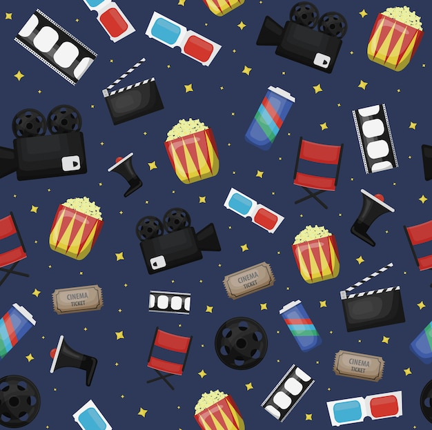 Cartoon bioscoop naadloze patroon op donkerblauwe achtergrond voor cadeaupapier, branding en bekleding.