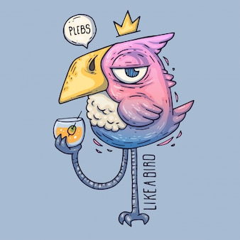 Cartoon bird drinks van een glas. birdie met een hooghartige blik. cartoon vectorillustratie.