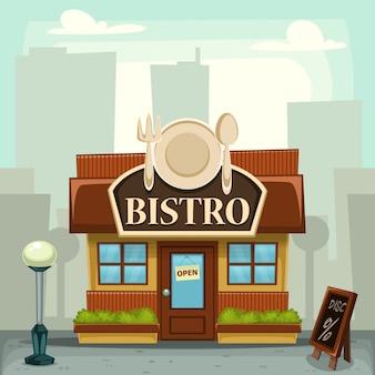 Cartoon bistro restauran winkel stad gebouw illustratie