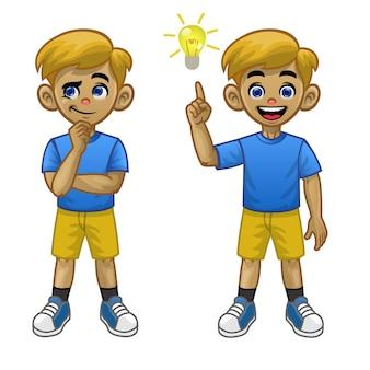 Cartoon blanke jongen denkt pose en vond het idee