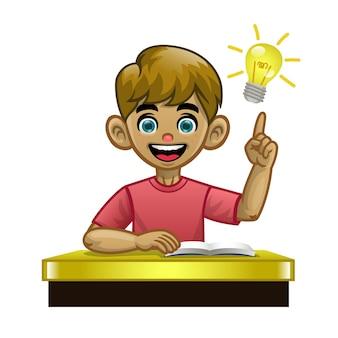 Cartoon blanke jongen student in de klas