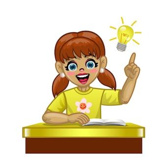 Cartoon blanke studente in de school