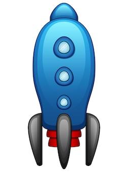 Cartoon blauwe ruimteschip geïsoleerd op een witte achtergrond