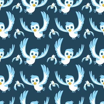 Cartoon blauwe vogel naadloze patroon