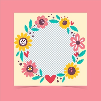 Cartoon bloemen facebook frame