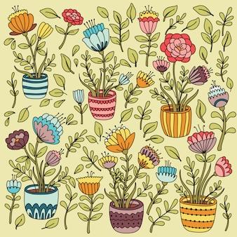 Cartoon bloemen set met bloempot