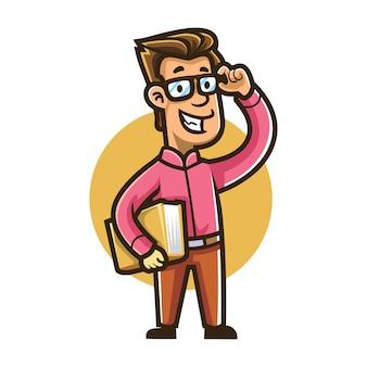 Cartoon boekenwurm geek mascotte