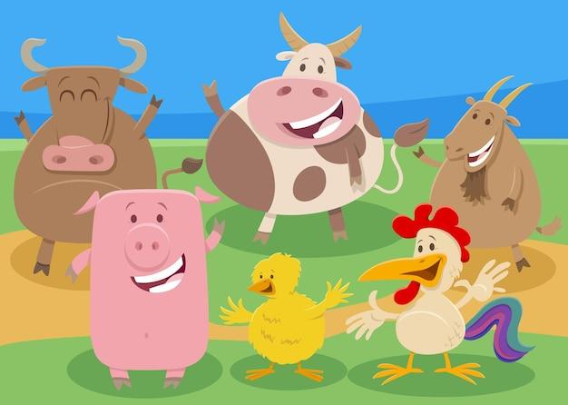 Cartoon boerderij dieren stripfiguren