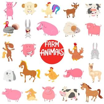 Cartoon boerderij dieren tekens grote collectie