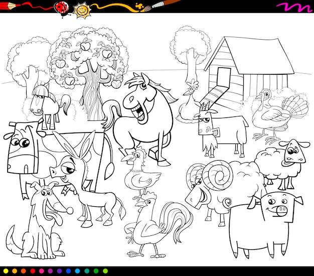 Cartoon boerderijdieren kleurboek