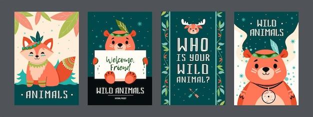 Cartoon boho dieren posters set. schattige beer, vos, eland met versieringen