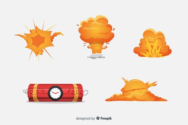 Cartoon bom en bomexplosie effect collectie