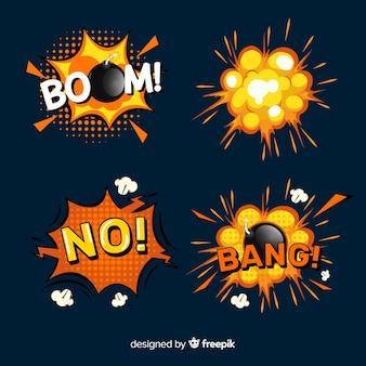 Cartoon bom en set van bomexplosie-effecten