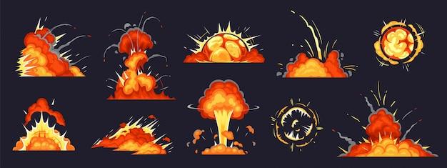Cartoon bomexplosie. dynamiet explosies, gevaar explosieve bom ontploffing en atoombommen wolk strips illustratie set