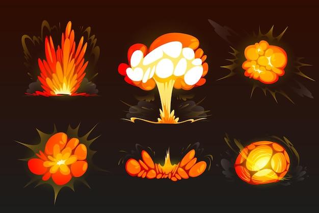 Cartoon bomexplosie set wolken boom effect