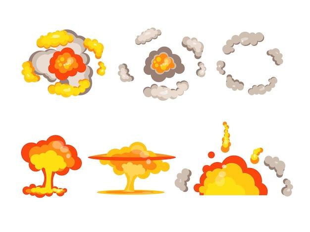Cartoon bomexplosie zij- en bovenaanzicht vectorillustratie